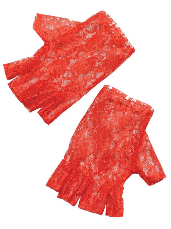 Red Short Fingerless Gloves