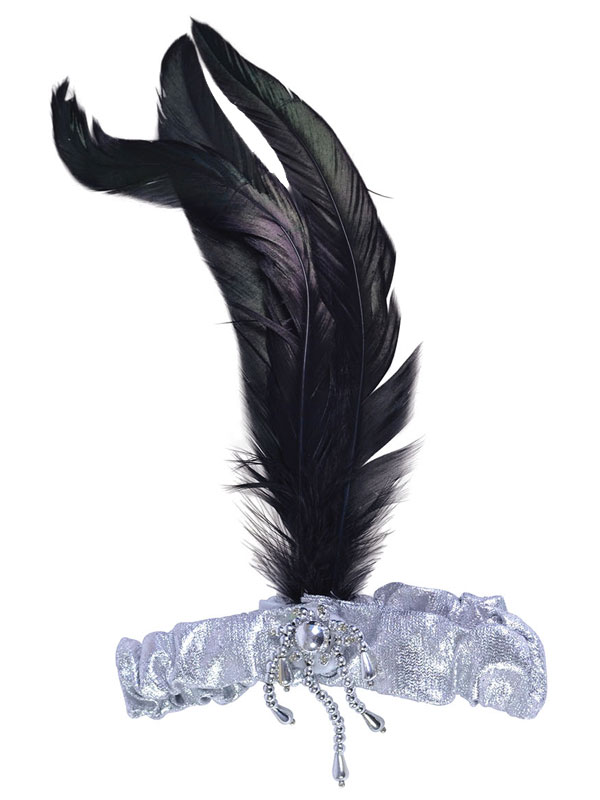 Silver Headband With Black Feathers