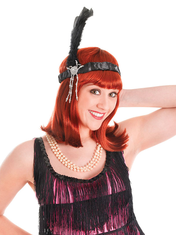 Flapper Headband & Black Feathers