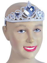 Ladies Girls Tiara Silver Plastic + Clear Stone