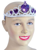 Ladies Girls Tiara Silver Plastic + Purple Stone
