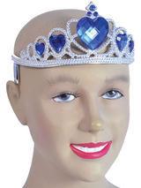 Ladies Girls Tiara. Silver Plastic + Blue Stone
