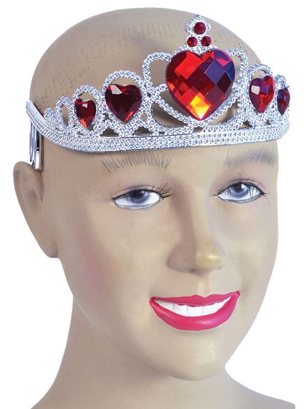 Ladies Girls Tiara. Silver Plastic + Red Stone