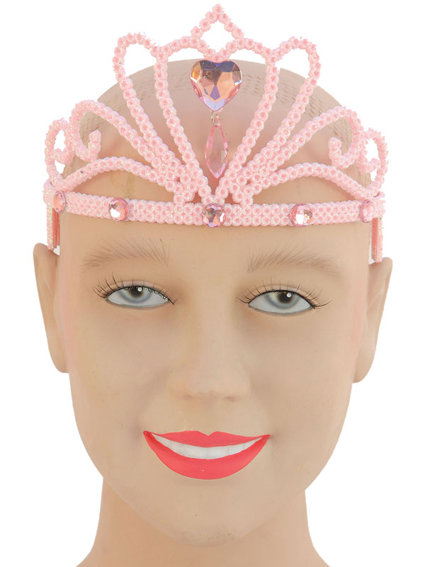 Ladies Girls Pink Glitter Tiara & Stone