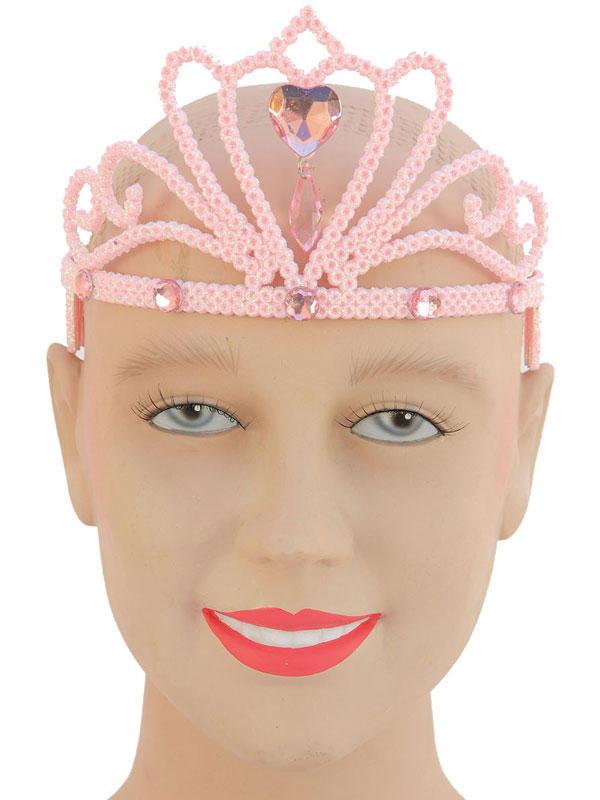 Ladies Girls Pink Glitter Tiara & Stone
