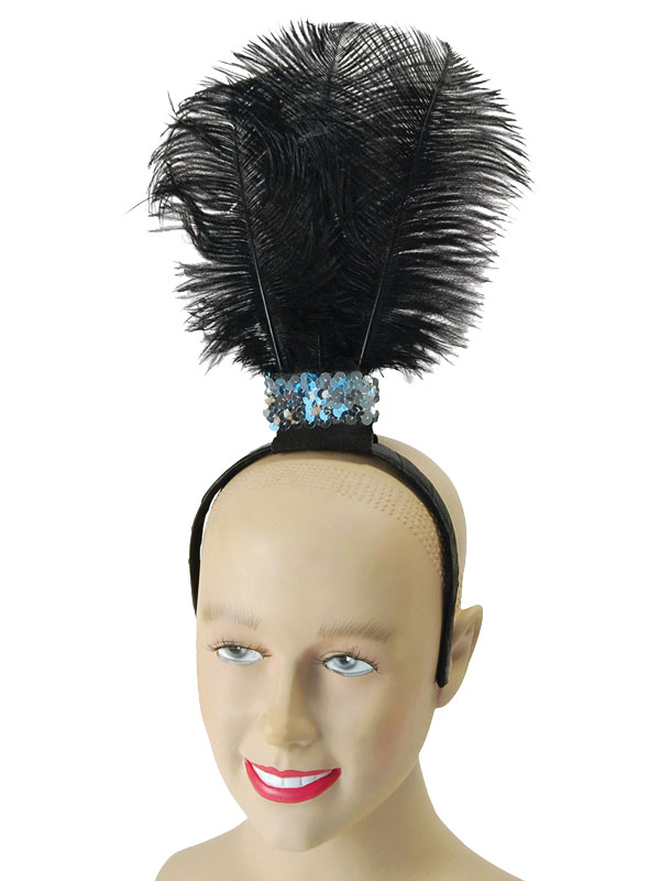 Black Flapper Headband Feathers