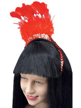 Red Feather Sequin Headpiece