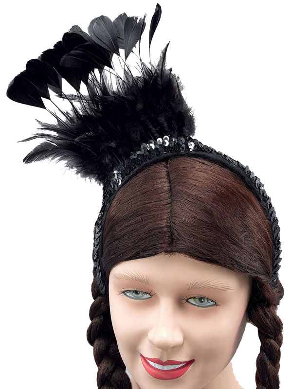 Black Feather Sequin Headpiece