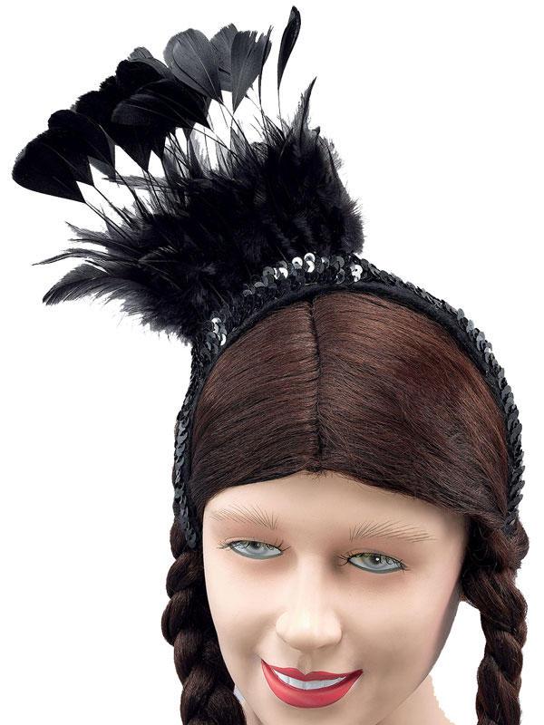 Black Feather Sequin Headpiece