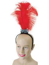 Red Flapper Headband Feathers