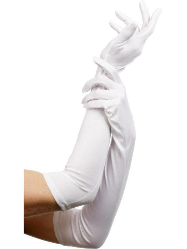 """Gloves Satin """" White"""