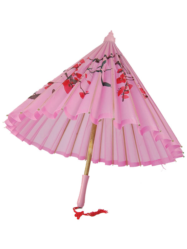 Parasol Pink Silk + Wooden Handle