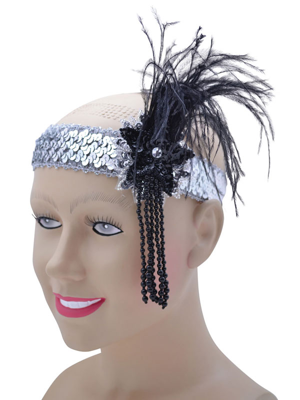 Flapper Headband Silver Sequin Band Deluxe