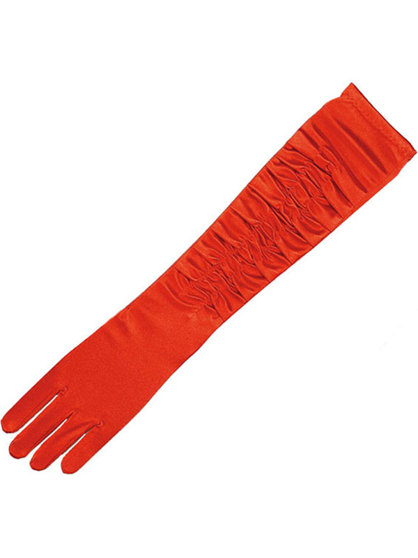 Gloves Red Satin Theatrical