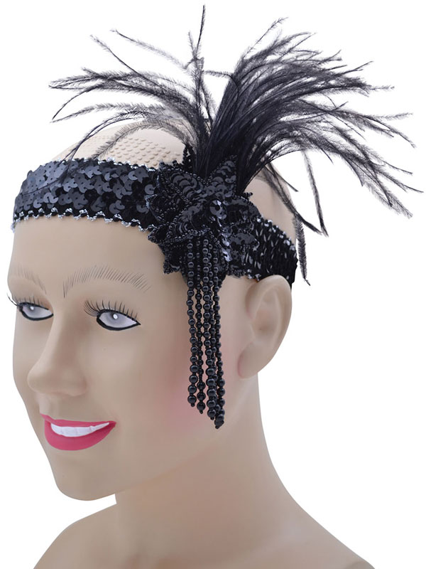 Flapper Headband Black Sequin Band Deluxe