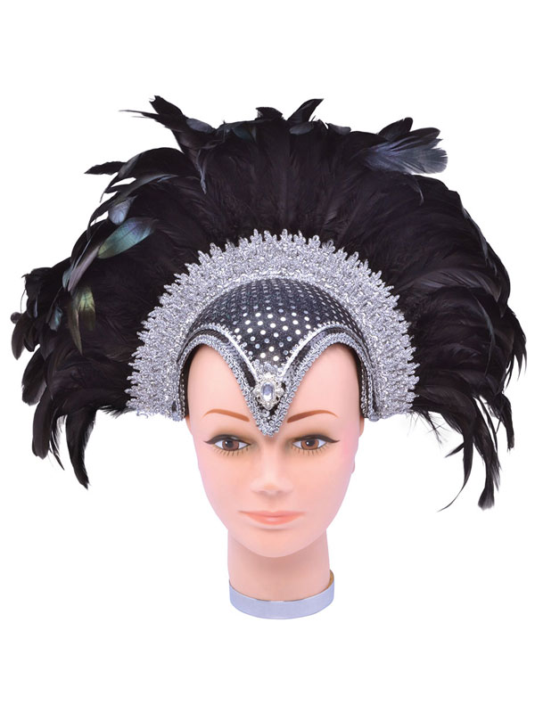 Feather Helmet Black Jewel + Plume