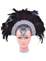 Feather Helmet Black Jewel + Plume