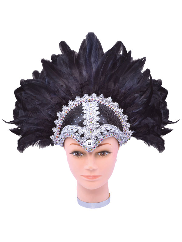 Feather Helmet Black Braiding Plume