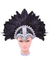Feather Helmet Black Braiding Plume