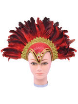 Feather Helmet Red Jewel + Plume