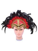 Feather Helmet Red Braiding Plume