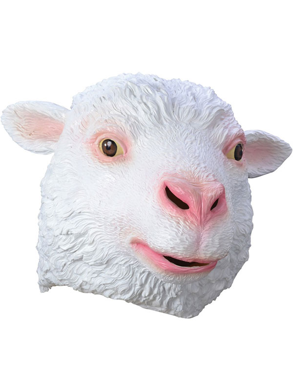 Sheep Head Mask Rubber Latex Ewe Fancy Dress Xmas Christmas Nativity Farm Animal