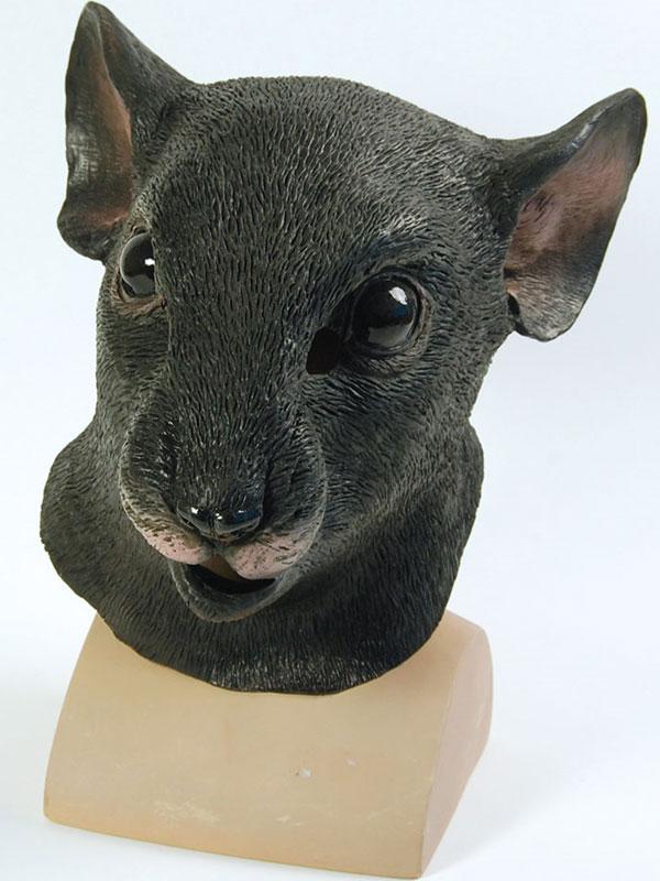 Dormouse Rat Head Mask Rubber Latex Fancy Dress Wonderland Alice Rodent