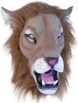 Full Head Rubber Latex Animal Lion Mask Safari Fancy Dress Halloween Wild Cat