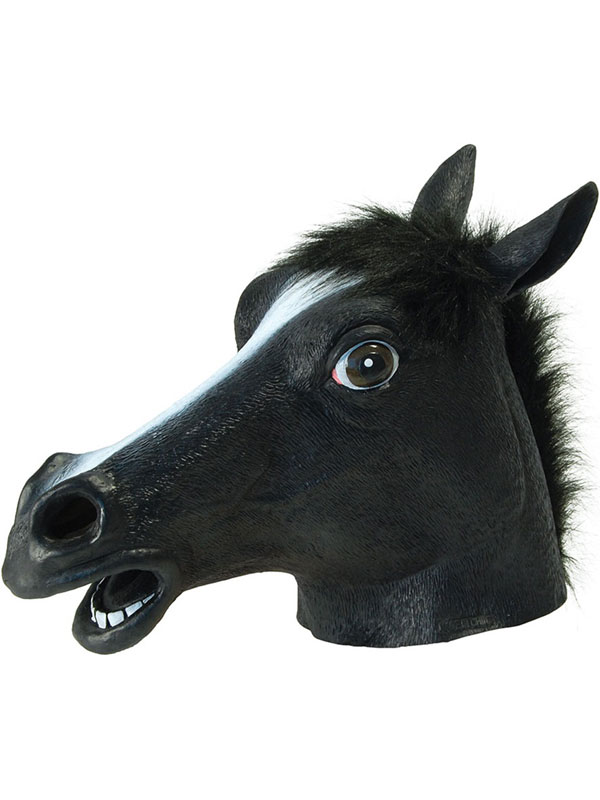 Black Beauty Rubber Horse Head Mask Panto Fancy Dress Party Cosplay Halloween