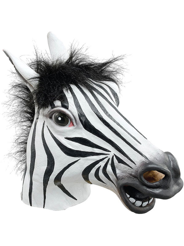Zebra Rubber Horse Head Mask Panto Fancy Dress Party Cosplay Wild Animal Adult