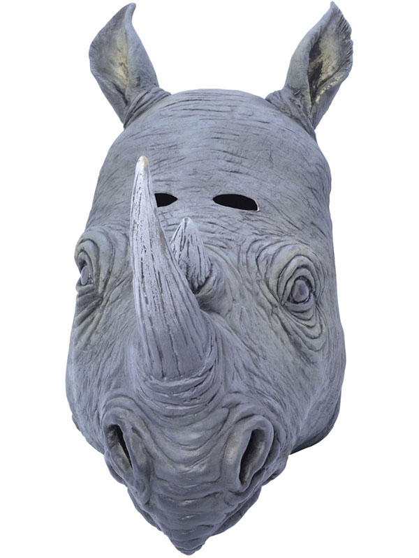 Adult Rhino Rhinoceros Animal Fancy Dress Rubber Deluxe Mask New Safari Africa Thumbnail 1