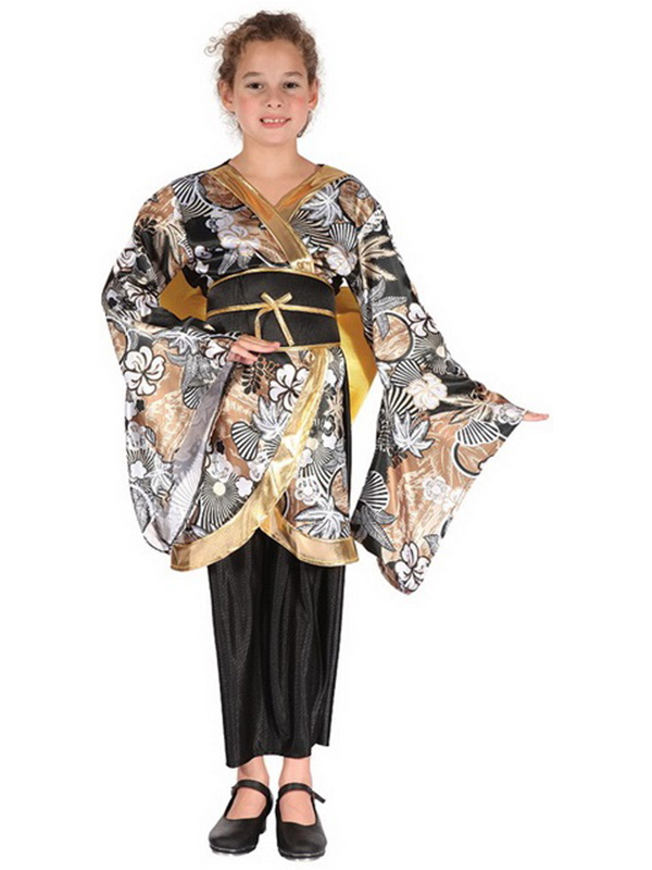 Sentinel Geisha Kimono Girl Fancy Dress Japanese Black Gold Dress Kids Costume Outfit New  sc 1 st  eBay : japanese kids costume  - Germanpascual.Com