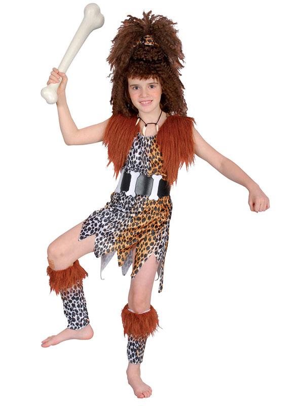 Costume-Filles-fille-cav-et-perruque-l-age-de-pierre-enfants-Deguisements-jour-mondial-du-livre