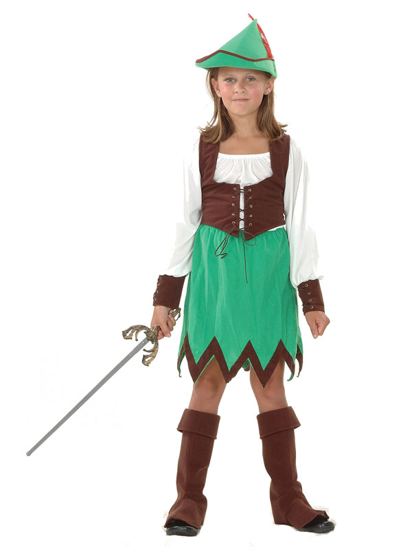 Girls-Robin-Hood-Hunter-Deluxe-Fancy-Dress-Costume-  sc 1 st  eBay & Girls Robin Hood Hunter Deluxe Fancy Dress Costume Book Week Childs ...