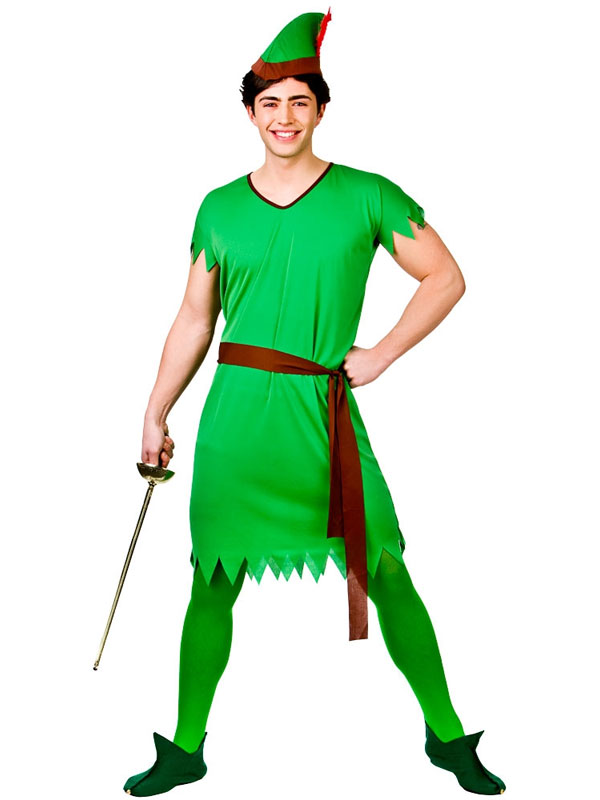 Mens Deluxe Robin Hood Peter Pan Medieval Fancy Dress Costume Adult