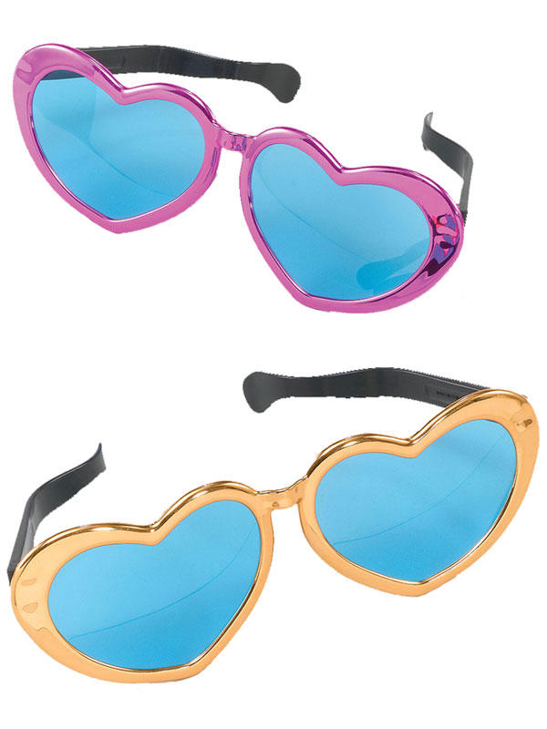 Jumbo Metallic Heart Sun Glasses
