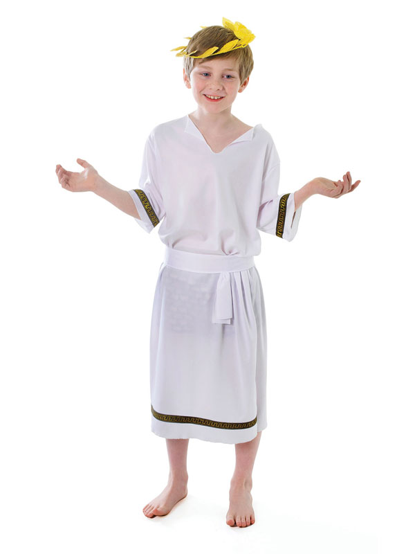 Boys Roman Toga Caesar Greek Childs Kids Fancy Dress Costume Outfit Book Week