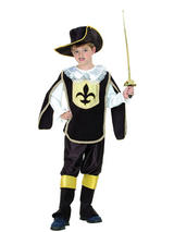 Boys French Musketeer Medieval Book Week Fancy Dress Costume Child Outfit & Hat