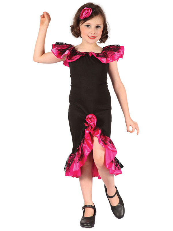 Child Rumba Girl Black Pink Costume