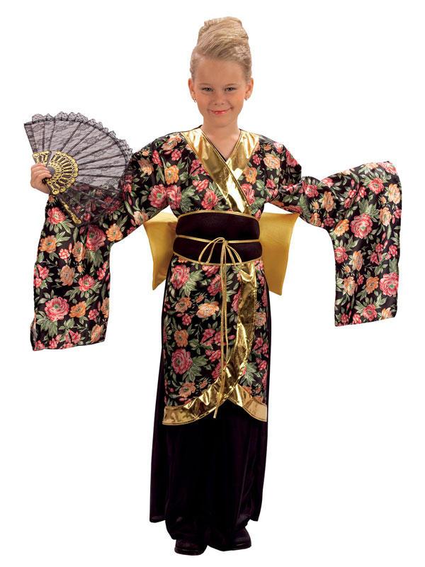 Child Rose Pattern Geisha Girl Costume