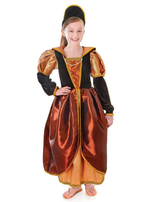 Child Bronze Tudor Queen Costume & Headband
