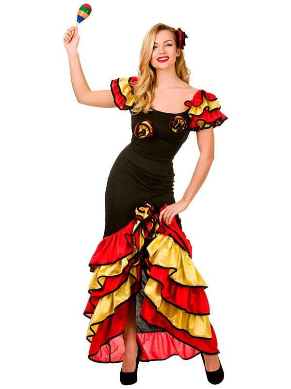 SENORITA-SPAGNOLA-RUMBA-Salsa-Flamenco-Dancer-Danza-Donna-  sc 1 st  eBay & Spanish Senorita Rumba Salsa Flamenco Dancer Dance Ladies Fancy ...