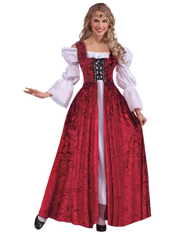 Mediueval Lace Up Gown Red Velvet Renaissance Fancy Dress Old ...