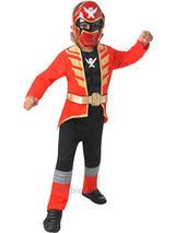 Child Red Muscled Power Ranger Super Mega Force Costume & Mask