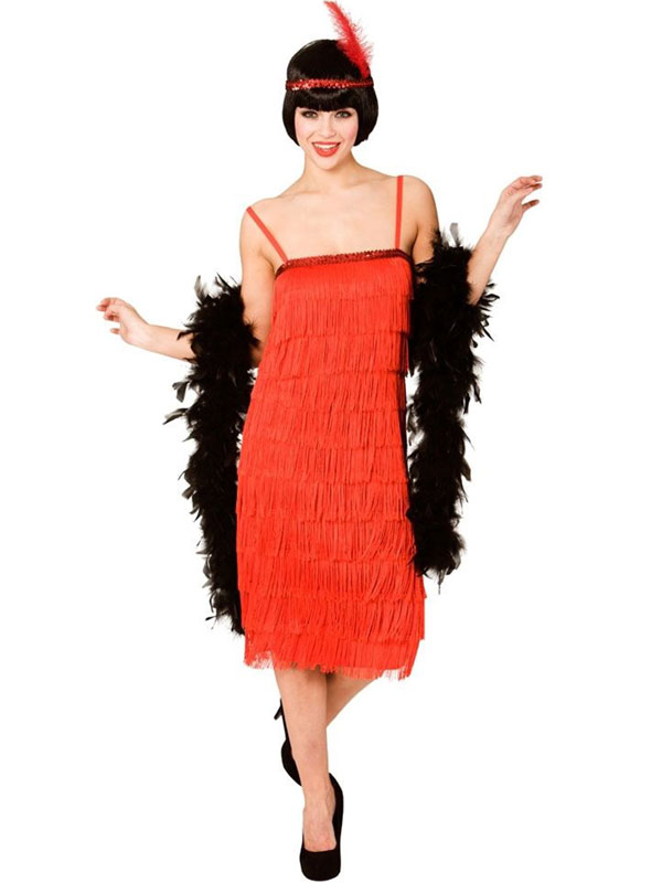 Jazzy Flapper Pencil Dress Red Costume