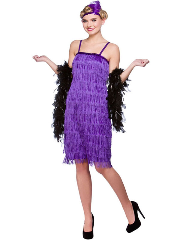 Jazzy Flapper Pencil Dress Purple Costume