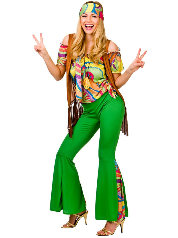 bcaf5290e77ce Sentinel Ladies Groovy Hippie Costume Hippy 60s 70s Womens Fancy Dress  Adult Outfit