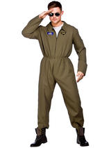 Top Shot Pilot Flight Suit Mens Uniform Aviator New Fancy Dress Costume New