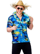 Adult Mens Hawaii Shirt Blue Palm Trees