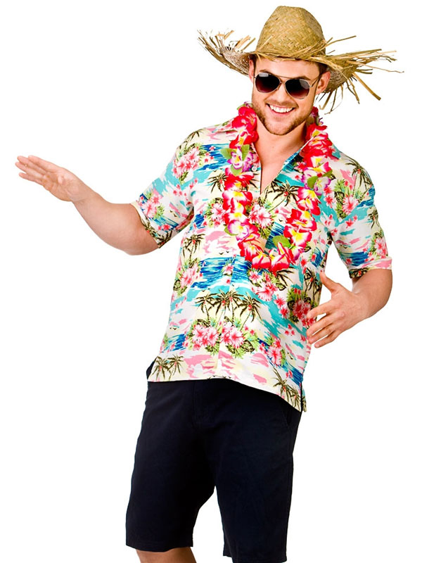 e93bb1a5 Adult Mens Hawaii Shirt Pink Flower & Palm Trees | Hawaiian | Plymouth Fancy  Dress, Costumes and Accessories